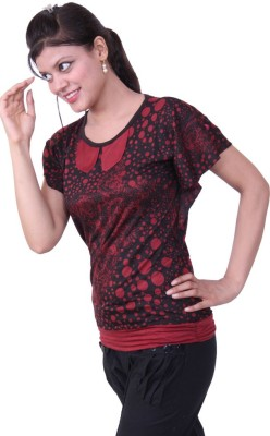 Austrich Casual Short Sleeve Printed Women's Maroon Top
