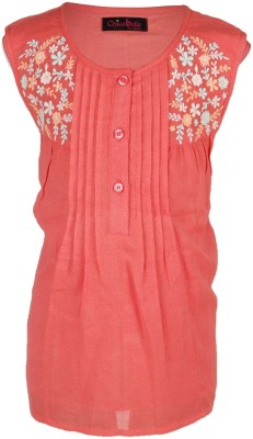 Chicabelle Casual Sleeveless Embroidered Girl's Orange Top