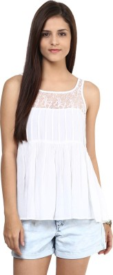 Shakumbhari Casual Sleeveless Solid Women's White Top