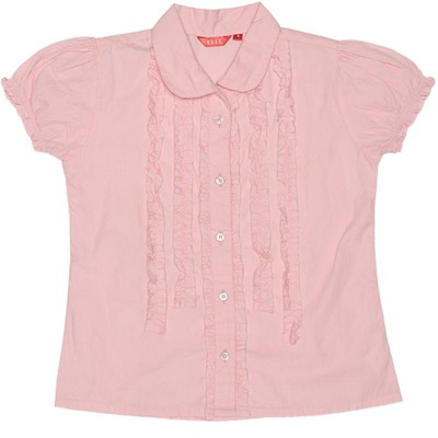 Elle Casual Short Sleeve Solid Girl's Pink Top