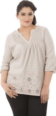 LASTINCH Casual 3/4th Sleeve Solid Women's Brown Top at flipkart