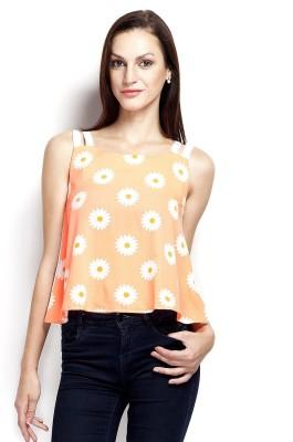 Popnetic Casual Sleeveless Printed Women's Orange Top