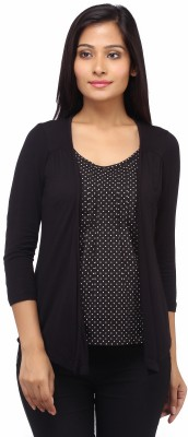 Entease Casual 3/4 Sleeve Printed Women's Black Top