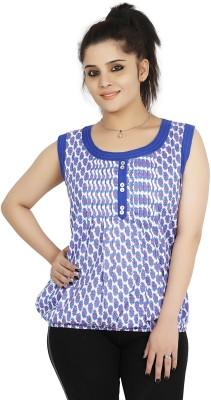 Sringar Casual Sleeveless Printed Women's Blue Top