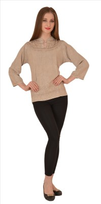 Skirts & Scarves Casual 3/4 Sleeve Embroidered Women's Beige Top