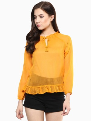 American Swan Casual 3/4 Sleeve Solid Women's Yellow Top