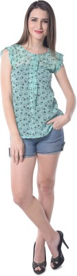 Florrie Fusion Casual Sleeveless Printed Women's Green Top