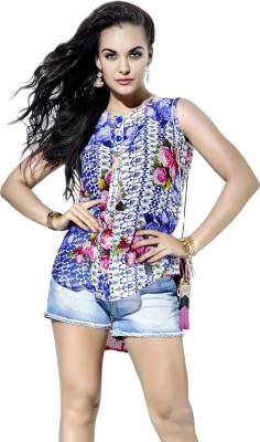 khushali Party Sleeveless Self Design, Printed Women's Multicolor Top