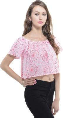 A Luv Ya Casual Short Sleeve Floral Print Women's White, Pink Top