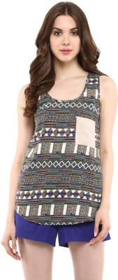 Abiti Bella Casual Sleeveless Printed Women's Multicolor Top