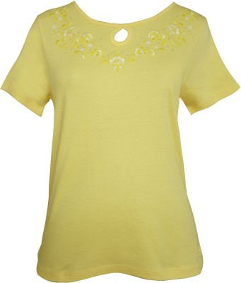 Girl Confidential Casual Short Sleeve Embroidered Women's Yellow Top