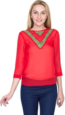 Golden Couture Casual, Festive, Formal, Lounge Wear, Party 3/4 Sleeve Self Design Women's Red Top