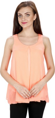 Svt Ada Collections Party Sleeveless Solid Women's Orange Top