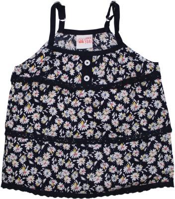 FS Mini Klub Casual Sleeveless Printed Baby Girl's Dark Blue Top