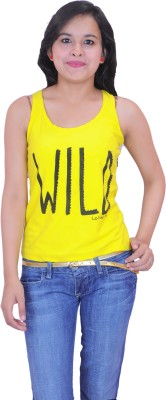 Krazzy Collection Casual Sleeveless Solid Women,s Yellow Top