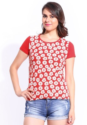Dressberry Casual Short Sleeve Printed Women's Red Top