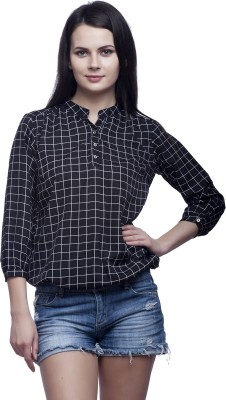 Mallory Winston Casual 3/4 Sleeve Checkered Women's Black Top