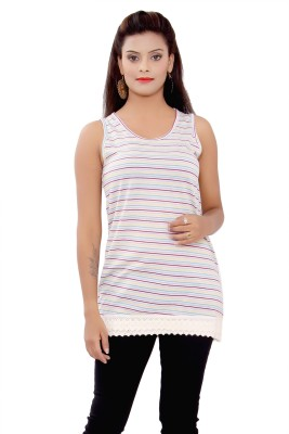 SML Casual Sleeveless Solid Women's White Top