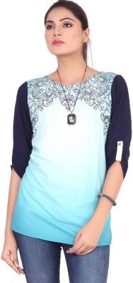 Pink Nine Casual 3/4 Sleeve Printed, Embellished Women's Blue, Black Top