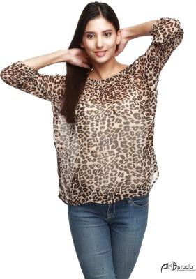 Guapa Spain Casual 3/4 Sleeve Animal Print Women's Brown Top