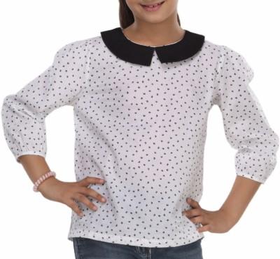 Trmpi Formal 3/4 Sleeve Printed Girl's White Top