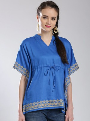 Anouk Casual Short Sleeve Printed Women's Blue Top