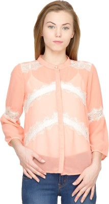 Latin Quarters Casual 3/4 Sleeve Solid Women's Pink Top