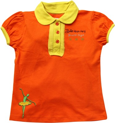 Jus Cubs Casual Sleeveless Printed Baby Girl's Orange Top