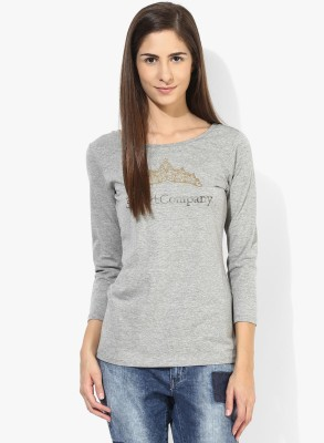 T-shirt Company Casual 3/4 Sleeve Graphic Print Women's Grey Top