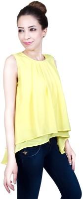 Urban Religion Casual, Festive, Party, Wedding Sleeveless Self Design Girl's Yellow Top