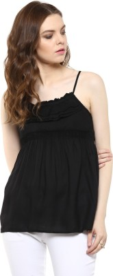 Rose Vanessa Casual Sleeveless Printed Women's Black Top