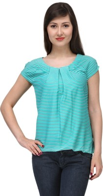 India Inc Casual Short Sleeve Striped Women's Light Blue Top