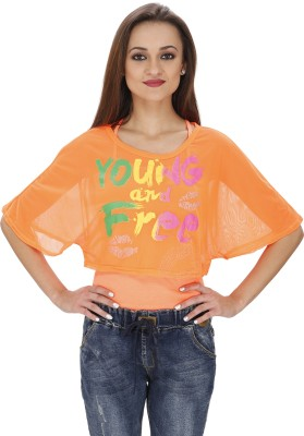 Svt Ada Collections Party Short Sleeve Printed Women's Orange Top