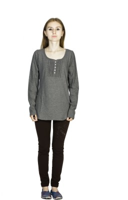 Dream of Glory Inc. Casual Full Sleeve Solid Women's Grey Top