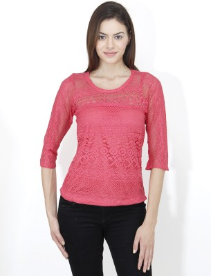 Mayra Casual 3/4th Sleeve Solid Women's Pink Top at flipkart