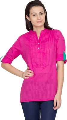 Golden Couture Casual 3/4 Sleeve Striped Women's Purple Top