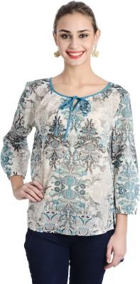 Keona Casual 3/4 Sleeve Printed, Self Design Women's Blue Top