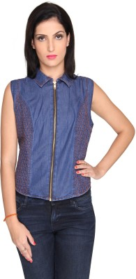 Bombay High Casual Sleeveless Solid Women's Dark Blue Top