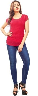 Reinvent Casual Short Sleeve Self Design Women's Red Top