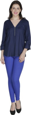 French Creations Casual Roll-up Sleeve Solid Women's Dark Blue Top