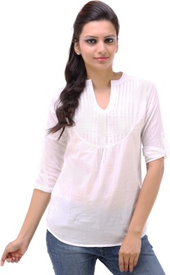 Kashana Fashions Casual Roll-up Sleeve Solid Women's White Top