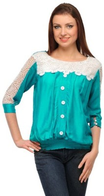 PINK SISLY Casual 3/4 Sleeve Solid Women's Green Top