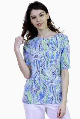 Caribbean Joe Beach Wear Short Sleeve Printed Women's Blue Top