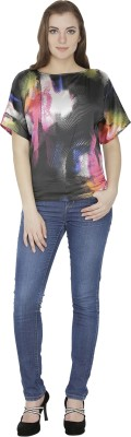 Famous by Payal Kapoor Casual Short Sleeve Graphic Print Women's Multicolor Top at flipkart