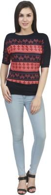 kellan Casual 3/4 Sleeve Self Design Women's Multicolor Top