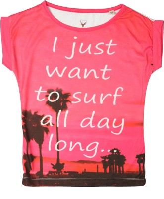 Allen Solly Casual Short Sleeve Printed Girl's Pink Top