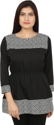 Bhane Casual 3/4 Sleeve Printed Women's White, Black Top