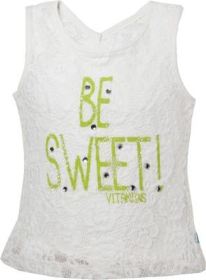 VITAMINS Casual Sleeveless Graphic Print Baby Girl's White Top
