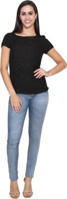 FATEN Casual Cap sleeve Embellished Women,s Black Top