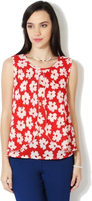 Van Heusen Casual Sleeveless Printed Women's Red Top